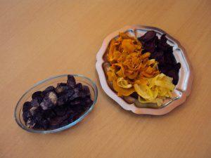 vitelottes, pétales de légumes